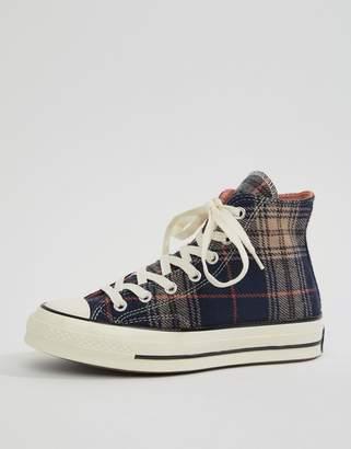 Converse Chuck 70 hi navy plaid sneakers