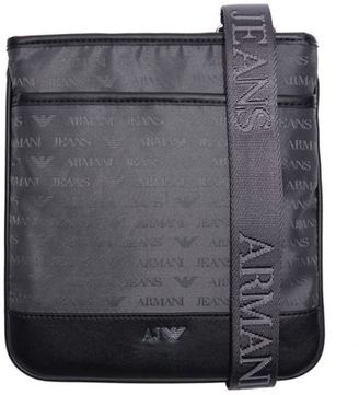 New Mens Grey Logo Print Pouch Nylon Cross Body Bag Crossbody Bags