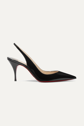 Christian Louboutin Clare 80 Patent-leather Slingback Pumps - Black