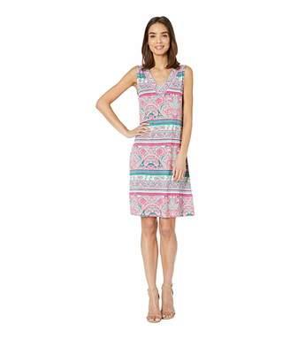 Tribal Printed Jersey Sleeveless Beaded Dress