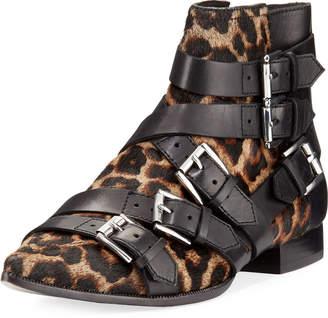 Ash Blast Leopard-Print Calf Hair Buckle Boots
