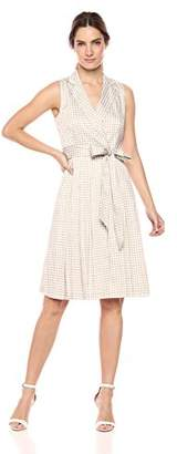 Anne Klein Women's Printed Notch Collar WRAP Dress