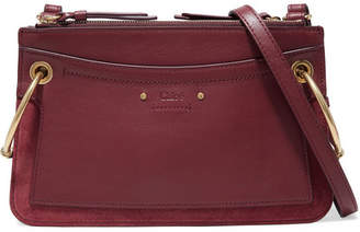 Chloé Roy Small Leather And Suede Shoulder Bag - Burgundy