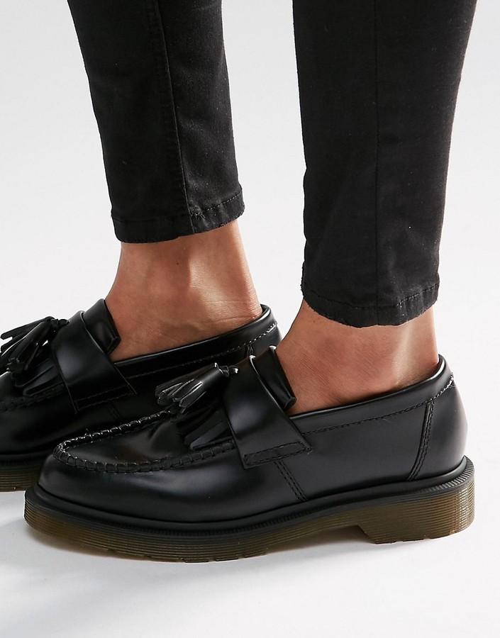 Dr. MartensDr Martens Adrian Black Leather Tassel Loafer Flat Shoes