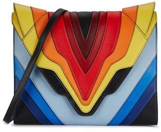 Elena Ghisellini Felina Large Rainbow Leather Clutch