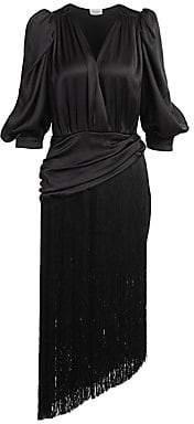 Magda Butrym Women's Wels Puff Sleeve Fringed Dress