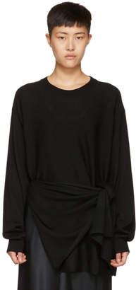Jil Sander Black Merino Tie Pullover