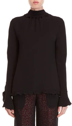 Derek Lam Mock Neck Tie-Back Blouse