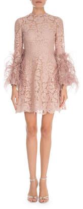 Valentino Feather-Cuff Heavy Lace Mini Dress