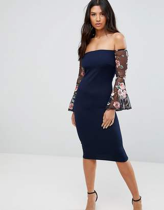Club L Bardot Detail Dress With Embroidered Sleeves