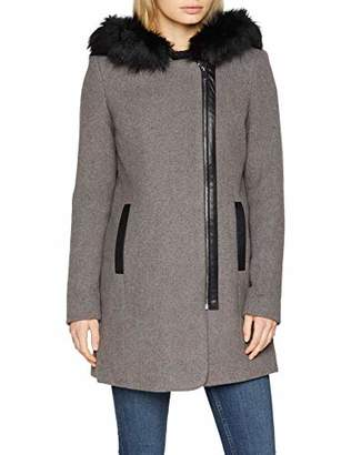Vero Moda Women's Vmmacy Collar 3/4 Wool Jacket LCS Coat, (Medium Grey Melange), (Size: X-Large)