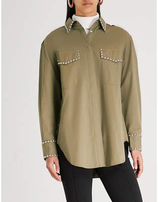 Mo&Co. Oversized studded cotton shirt