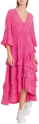 Ganni Barra Crepe Maxi Dress