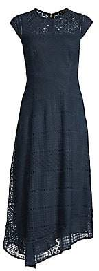 Donna Karan Women's Asymmetric Hem Lace Midi Dress