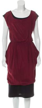 Fendi Silk Overlay Wool Dress Black Silk Overlay Wool Dress