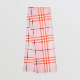 Burberry Lightweight Check Wool and Silk Scarf, Pink