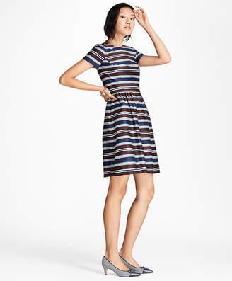 Brooks Brothers Striped Stretch-Cotton Sateen Dress
