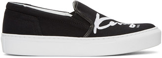 Kenzo Black K-PY Signature Platform Slip-On Sneakers $180 thestylecure.com