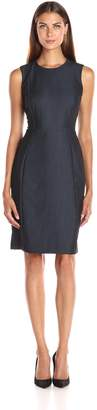 Calvin Klein Women's Denim Sleeveless Princess Seam Sheath Dress