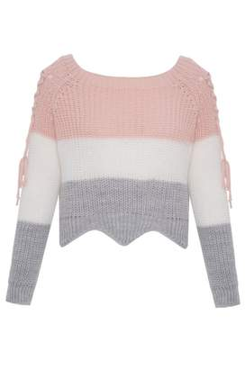 Quiz Pink Stripe Knitted Lace up Top