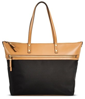 Merona Women's Color Block Nylon Work Tote with Faux Leather Trim Black - Merona $49.99 thestylecure.com