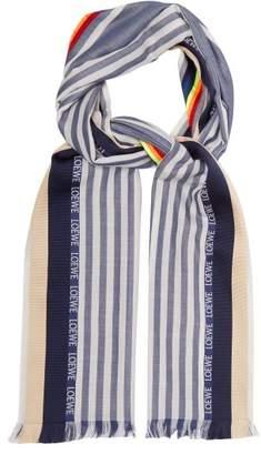 Loewe Rainbow Striped Scarf - Mens - Blue Multi