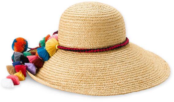 Juicy Couture 'Pompom Tassels' Straw Sun Hat