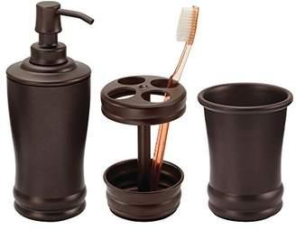 mDesign Metal Bathroom Vanity Countertop Accessory Set - Includes Refillable Soap Dispenser