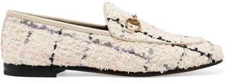 Gucci Jordaan Horsebit-detailed Leather-trimmed Boucle-tweed Loafers