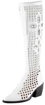 Chloé Rylee Knee-High Woven Boot, White