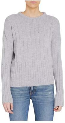 Loro Piana Grey Baby Cashmere Textured Crewneck Sweater
