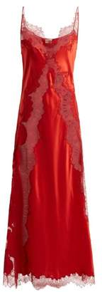 Carine Gilson Lace Insert Silk Satin Slip Dress - Womens - Red