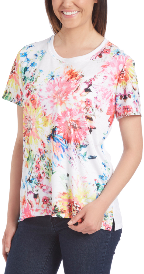 White & Pink Floral Tee