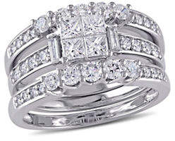 Concerto 1.25TCW Multi-Shape Diamond 3-Piece Bridal Set in 14k White Gold
