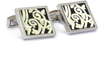 Hickey Freeman Rhodium Plated Mosaic Mother of Pearl Square Cuff Links