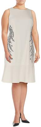 Adrianna Papell Women's Plus Embroidered Crepe Dress