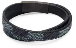 Jean Claude Check Double Wrap Leather Bracelet