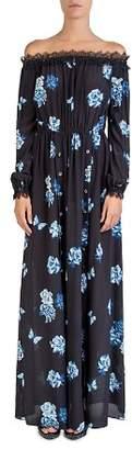 The Kooples Silk Off-the-Shoulder Rose-Print Maxi Dress