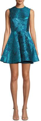 Alice + Olivia Stasia Sleeveless Fit-and-Flare Metallic Paisley-Jacquard Party Dress