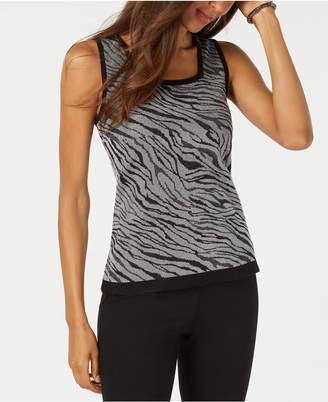 Kasper Zebra-Print Knit Shell