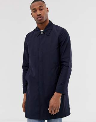 Asos DESIGN shower resistant trench coat in navy