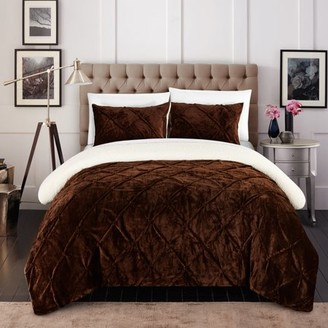 Luxury Chiara 7 Piece Ultra Plush Sherpa Lined Bed in a Bag Comforter Set