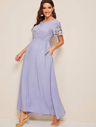 Shein Botanical Embroidered Sleeve Button Front Pocket Dress