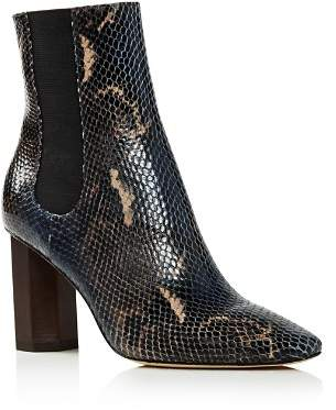 Donald J Pliner Women's Laila Round Toe Snake-Embossed Leather Booties
