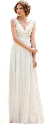 Sunnygirls Vintage Bohemian Lace Beach Simple Chiffon Boho Bridal Gown