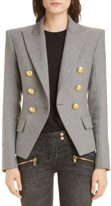 Balmain Double Breasted Wool Blend Jacket