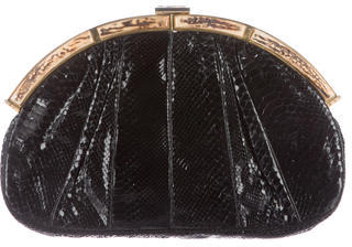Judith Leiber Pleated Python Clutch $245 thestylecure.com