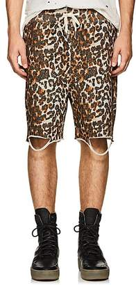 NSF Men's Distressed Leopard-Print Cotton Sweatshorts