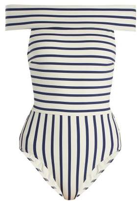 Solid & Striped The Vera Off The Shoulder Striped Swimsuit - Womens - Navy Stripe