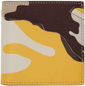 Valentino Beige and Yellow Garavani Camo Bifold Wallet